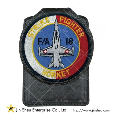 Leather Badge with Embroidery - Leather Badge with Embroidery