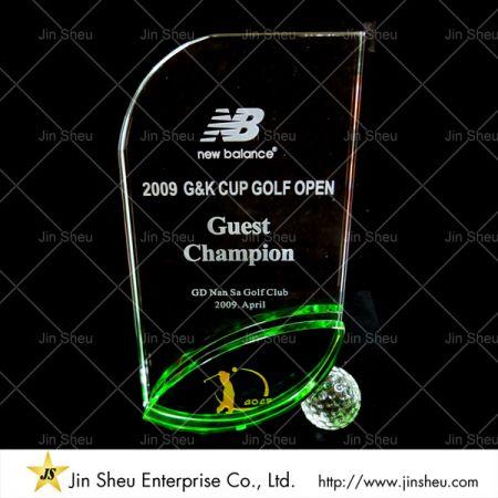 Custom Crystal Glass Sports Trophy - Custom Crystal Glass Sports Trophy
