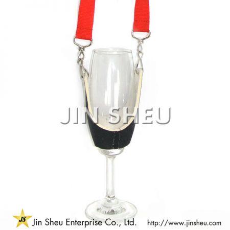 Neoprene Wine Glass Necklace - Neoprene Wine Glass Necklace