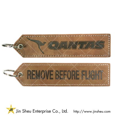 Leather Keychain with Debossed Logos - Leather Keychain with Debossed Logos