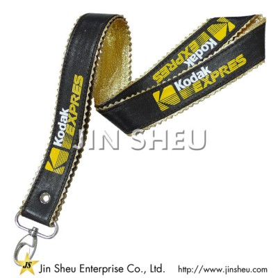 PU leather lanyard (gold) - PU leather lanyard (gold)