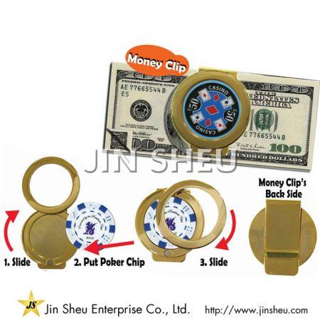 Poker Chip Money Clip/ Casino Chip Keyring Holder - Poker Chip Money Clip