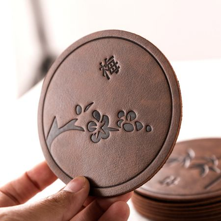 Chinese Style Leather Cup Mat