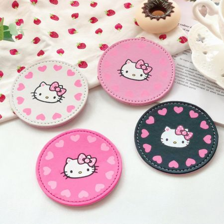 cute leather beverage coasters