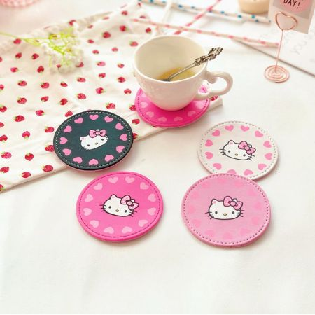 kids leather cup coasters