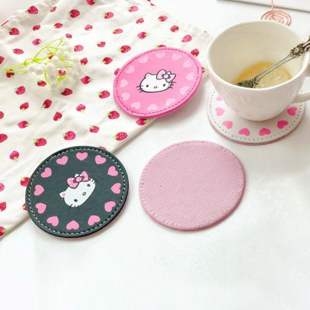 lovely pu leather coasters