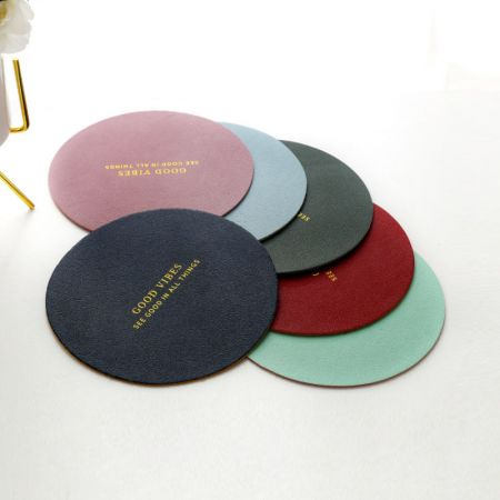round leather cup coasters