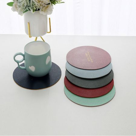 round leather cup placemat