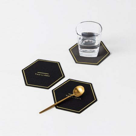 pentagon leather cup mat