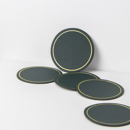 round mug leather coaster