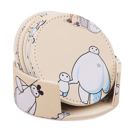 anime logo printing leather coaster