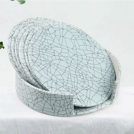 green texture leather coaster