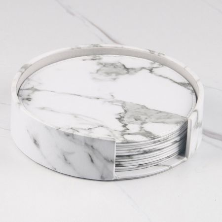Marbling graphic leather coaster