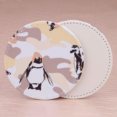cartoon logo printing leather cup mat