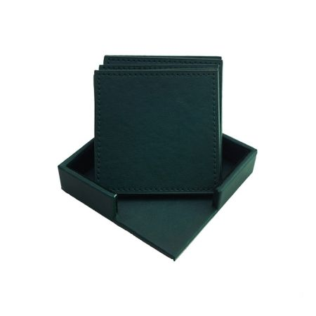 square leather coaster set