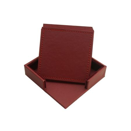 square leather cup placemat set