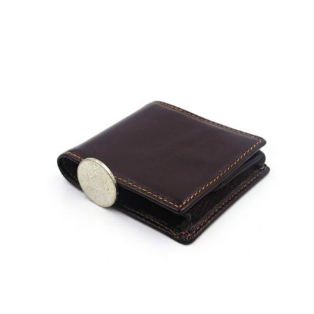 square folding leather coin wallet