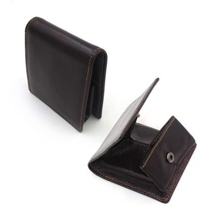 square leather coin pouch with button