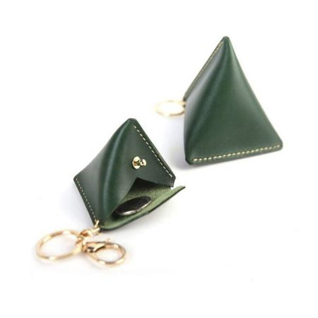mini triangle coin bag with keyring