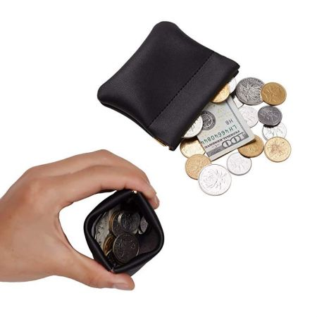 mini portable flat leather squeeze coin bag