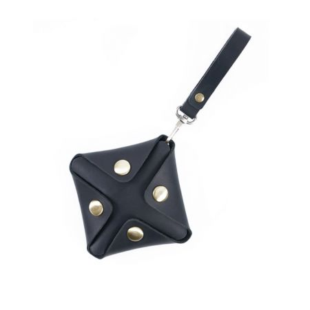 square button style coin wallet with strap