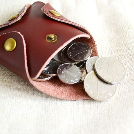 square button style coin pouch with strap
