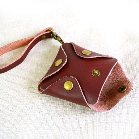 mini square coin strap wallet with button