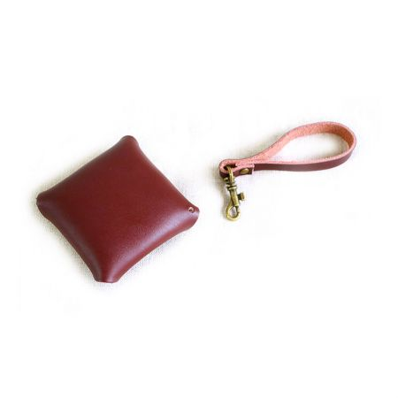 small leather square coin strap purse with button