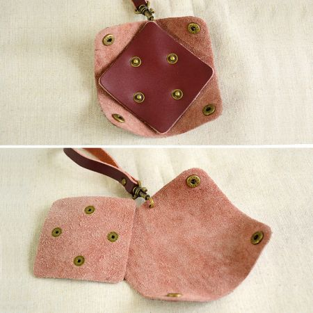 small leather coin purse with strap