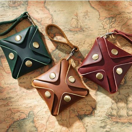 mini leather coin pouch with strap
