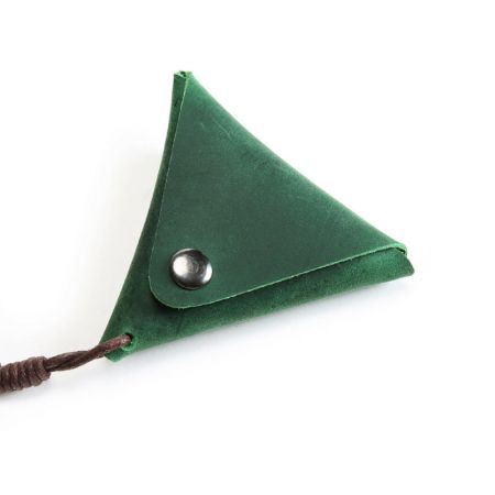 leather flat triangle coin purse