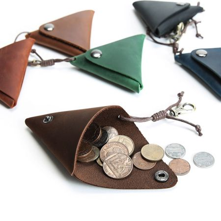 leather triangle coin pouch with cord strap