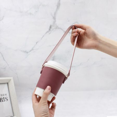 leather coffee cup cover holder