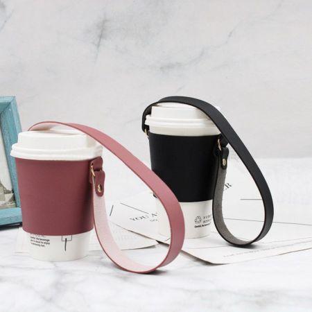 custom leather coffee cup sleeve
