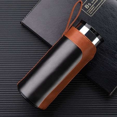 leather thermos bottle sleeve with zipper