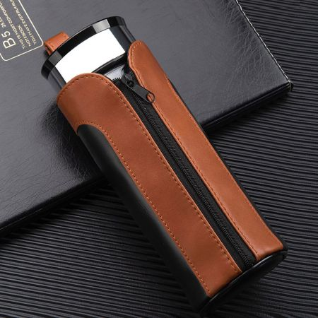 two-color leather thermos bottle cover holder