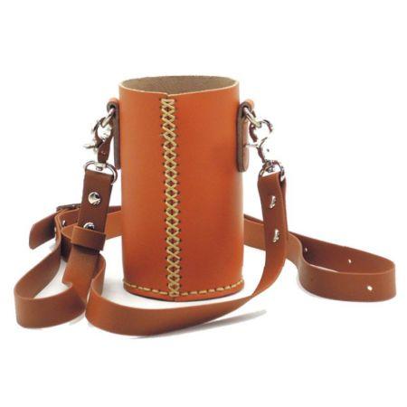 leather bottler holder with long hanging strap