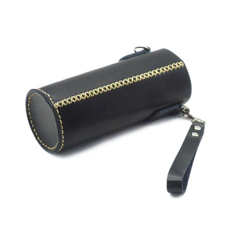 black leather bottle sleeve holder with one side strap