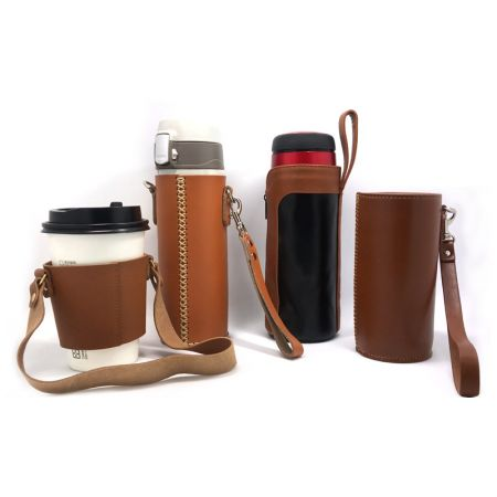 Leather Made Cup Sleeve and Bottle Holder - Custom Made Leather Sleeve and Holder