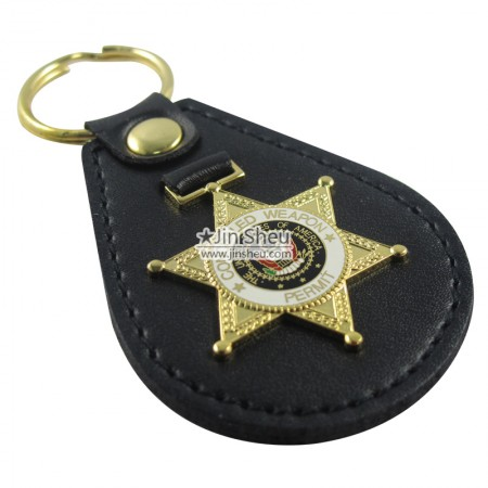 Police Badges Leather Key Fobs - Police Badges Leather Key Chains