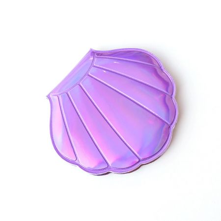 Purple Holographic Leather Shell Shape Compact Mirror