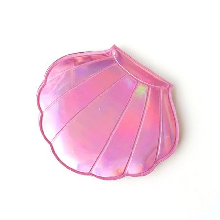 Pink Holographic Leather Shell Shape Cosmetic Mirror