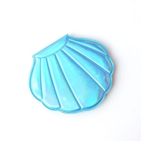 Blue Holographic Leather Shell Shape Kids Compact Mirror