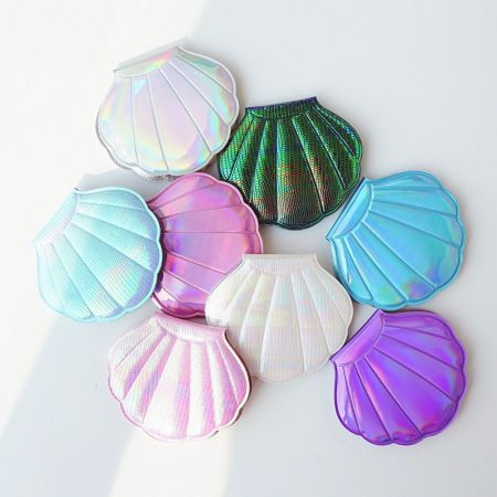 Holographic Leather Shell Shape Pocket Mirror