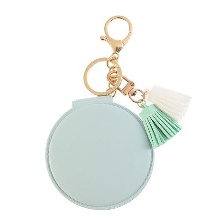 Light Blue Round Leather Compact Mirror with Tassel