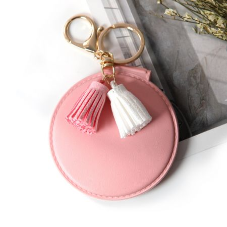 Pink Round Leather Compact Mirror Keychain