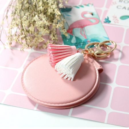 Round Leather Portable Mirror with Keyring