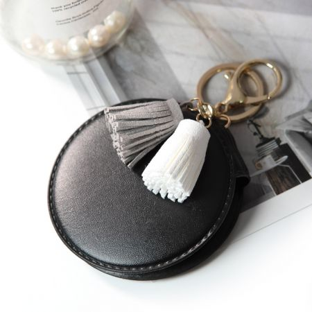 Round Leather Cosmetic Mirror with Keyring