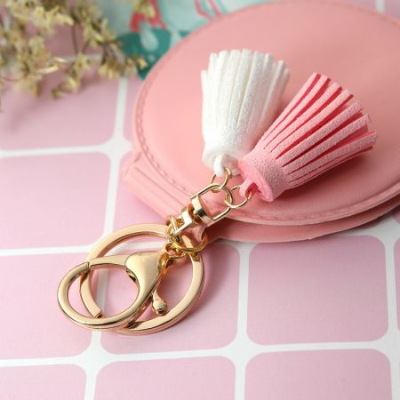 Leather Compact Mirror with Key Ring