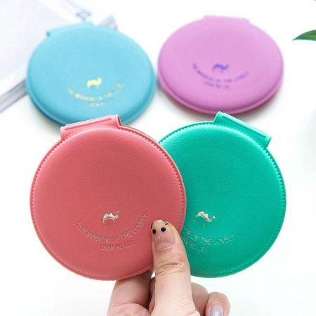 Round Leather Pocket Mirror